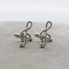 Music note clef stainless steel cufflinks