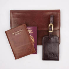 Personalised Luxury Leather Travel Set