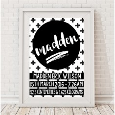 Cross Monochrome Personalised Baby Birth Print