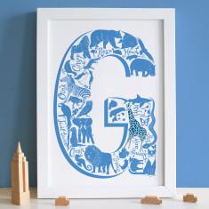 Animal Letter Christening Print
