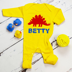 Personalised dinosaur long sleeve onesie