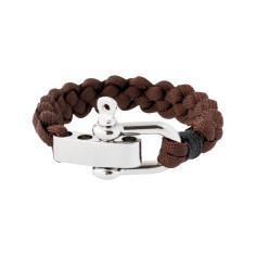 Shackle cuff bracelet in brown