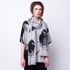 Flying thread ink print cashmere scarf