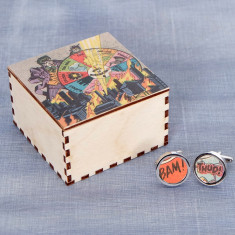 Superhero cufflinks & cufflink box