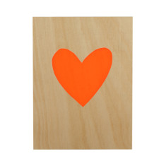 Heart plywood screenprint
