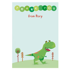 Personalised dinosaur thank you card (set of 8)