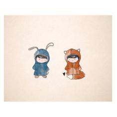 An April Idea rabbit loves fox print