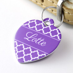 Personalised Quatrefoil Pet Tag Heart Shaped (P02)