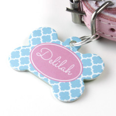Personalised Quatrefoil Pet Tag Bone Shaped (P02)