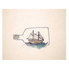 An April idea ship in a bottle print