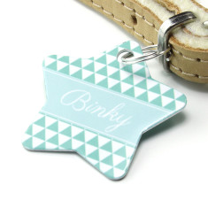 Personalised pet name ID tag star triangle