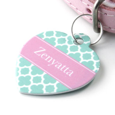 Personalised Clover Pet Tag Heart Shaped (P05)