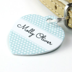 Personalised Polkadot Pet Tag Heart Shaped (P06)