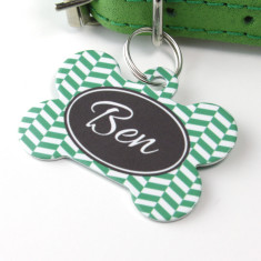 Personalised Herringbone Pet Tag Bone Shaped (P07)