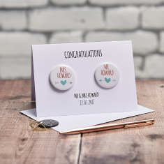 Personalised Mr And Mrs Badge Card