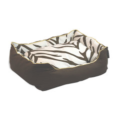 Zebra pillow dog beds in brown and cream