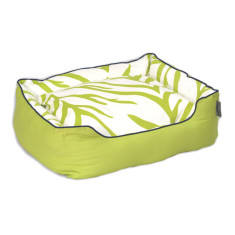 Zebra pillow dog beds in lime and cream