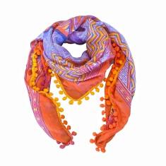 Brigitte silk scarf with pom pom trim