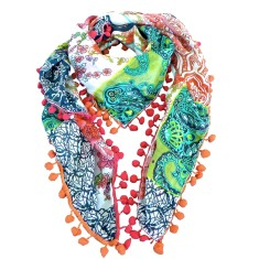 Gigi silk scarf with pompom trim