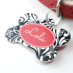Personalised pet name ID tag bone swirl