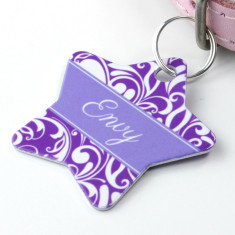 Personalised pet name ID tag star swirl