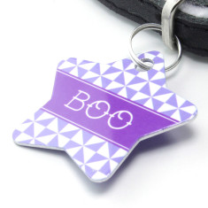 Personalised pet name ID tag in star pinwheel