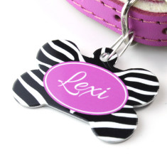 Personalised Zebra Pet Tag Bone Shaped (P15)