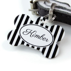Personalised Stripe Pet Tag Bone Shaped (P16)