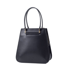 Urban leather tote shoulder bag in black