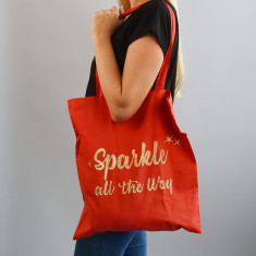 Sparkle All The Way Gold Glitter Tote Bag