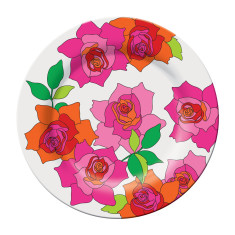 French Bull dinner plate in rose pattern