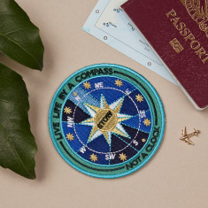Embroidered Travel Patch Live Life By A Compass Not a Clock