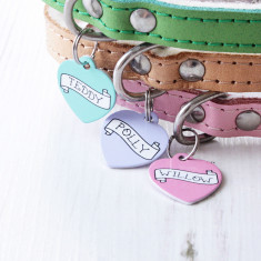 Personalised Banner Pet Tag Heart Shaped
