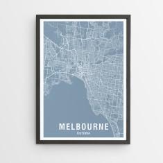 Melbourne map print (various colours)