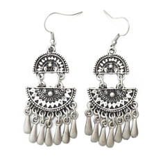 Modern tribal aztec silver earrings
