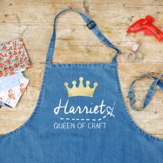 Personalised Craft Queen Denim Apron