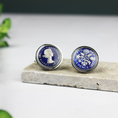 Sixpence 60th Enamel Coin Cufflinks
