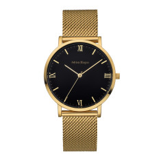 Women's Gold Black Mesh Watch