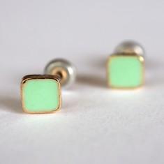 Tiny mint stud earrings