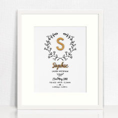 Personalised Botanical Vine Bamboo Birth Print