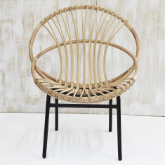 Indah Loop Rattan Armchair with Iron Legs