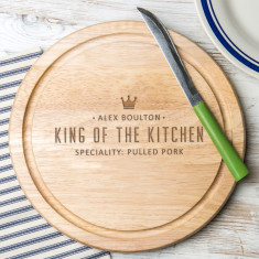 Personalised King Of The Kitchen Round Chopping Board