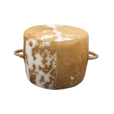 Escaño Ottoman in Brown and White Etched Hide