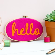 Felt Hello Embroidery Hoop Artwork