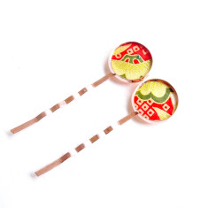 Rose gold Japanese chiyogami bobby pins in Yuko