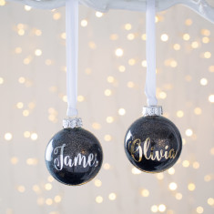 Personalised Black Metallic Glitter Bauble