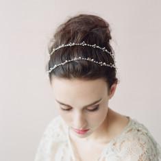 Crystal leaf pearl hair hoop