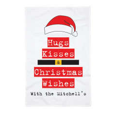 Personalised Hugs and Kisses Tea Towel