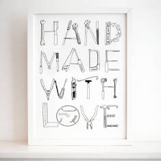 Hand made with love print