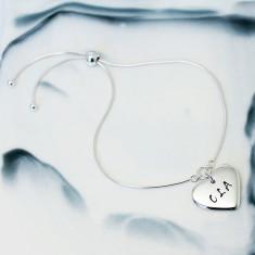 Personalised Small Heart Sterling Silver Slider Bracelet
